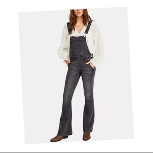 Free People Carly Flared Overalls Denim Greyed Out